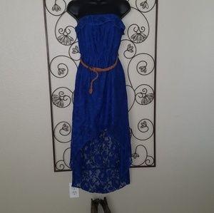 Blue summer strapless dress